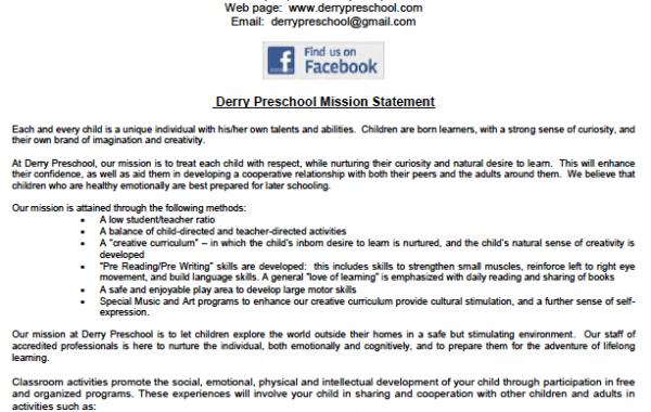 Derry Preschool Parent Handbook